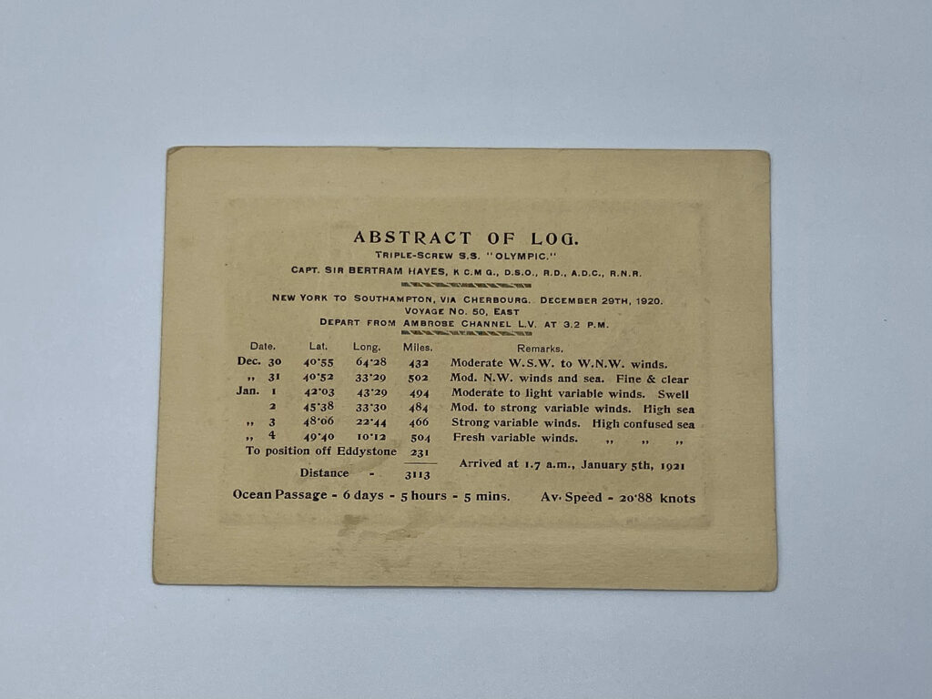 RMS Olympic Abstract of Log Back